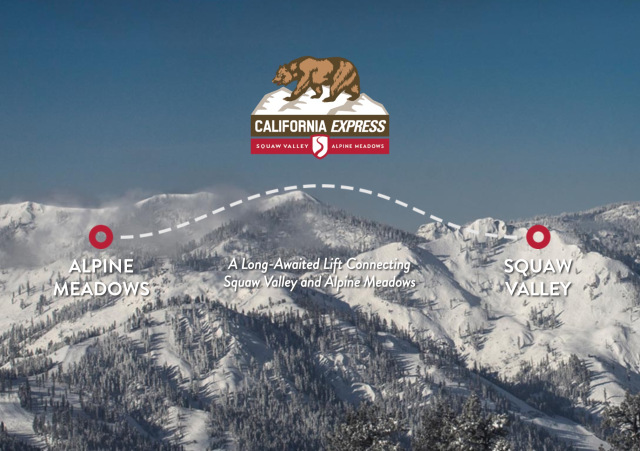 The projected gondola plan between Squaw Valley and Alpine Meadows Ski Resort/s.