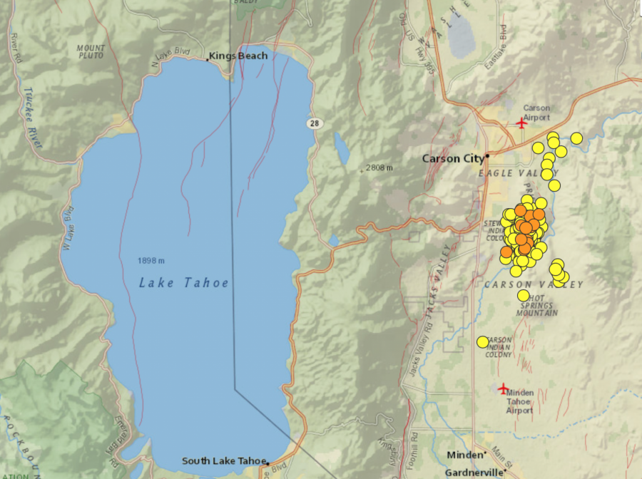 Earthquake activity near Carson City, NV and Lake Tahoe's fault lines. People can report feeling an Earthquake on the USGS website. Photo courtesy of USGS.