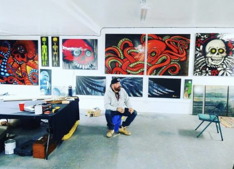 RYNo's gears turn as he ponders new ideas. RYNo is always creating new art whether it be for Volcom, Red Bull, or his latest project, the Hive Collection.